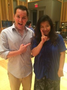 Dan Hulsman of Video Game Music Academy standing with Yoko Shimomura during recordings for Final Fantasy XV